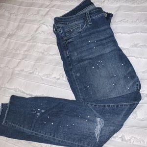 Gap paint knee slit skinny jeans